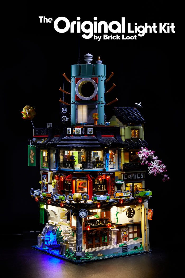 LEGO NINJAGO City set 70620, fully illuminated with the custom Brick Loot LED Light Kit.