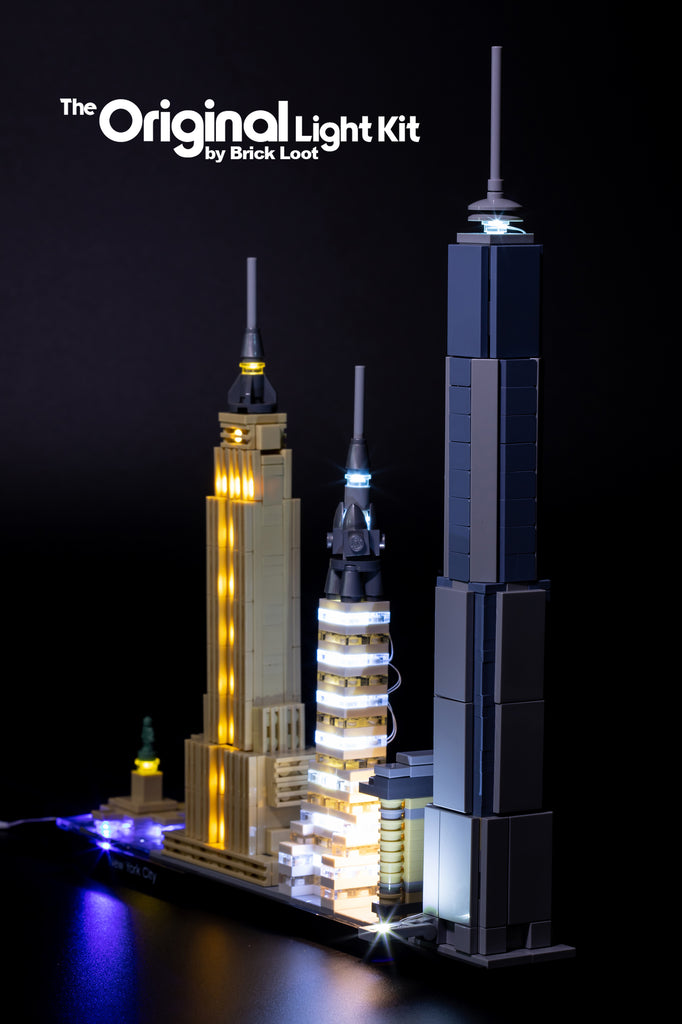 LEGO Architecture New York City set 21028 beautifully lit up with the Brick Loot LED Light Kit - side view.