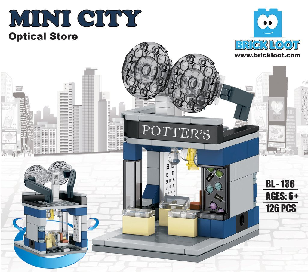 Brick-Loot-Mini-City-Optical-Shop-100%-LEGO-Compatible-Bricks