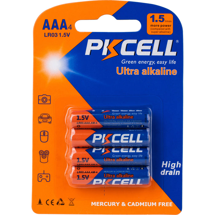 Pack of 4 High Quality AAA Ultra Alkaline Batteries