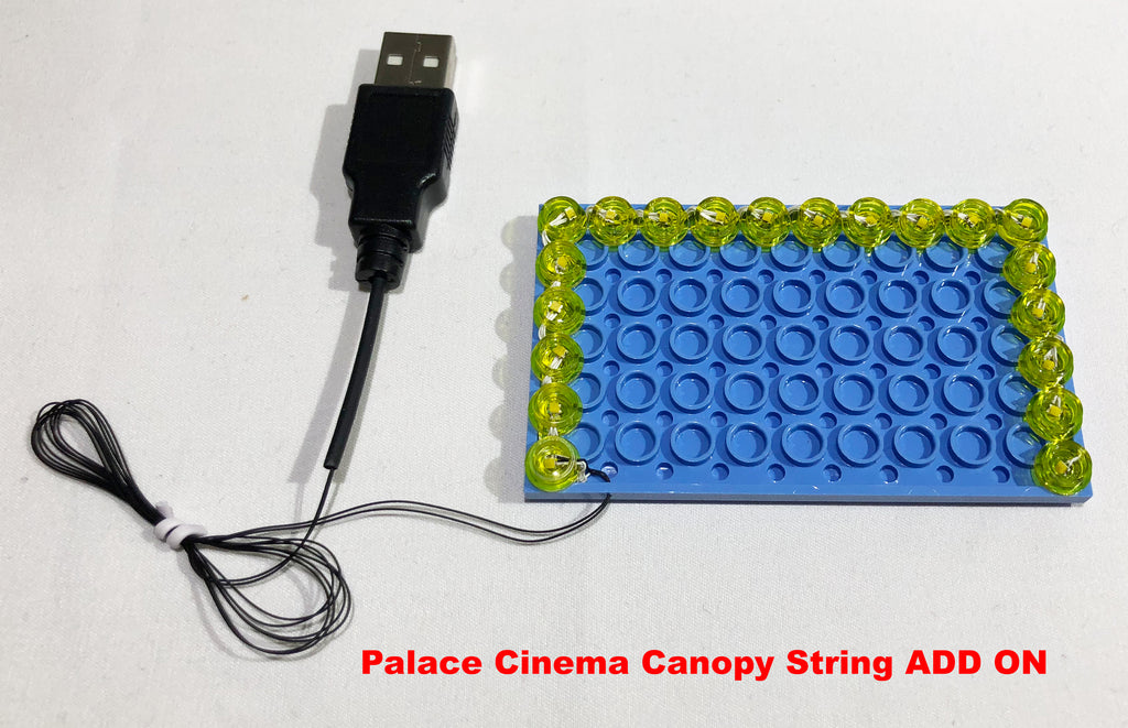 LED lights for the LEGO Palace Cinema (set 10232) Canopy, custom made by Brick Loot. Powered by USB.