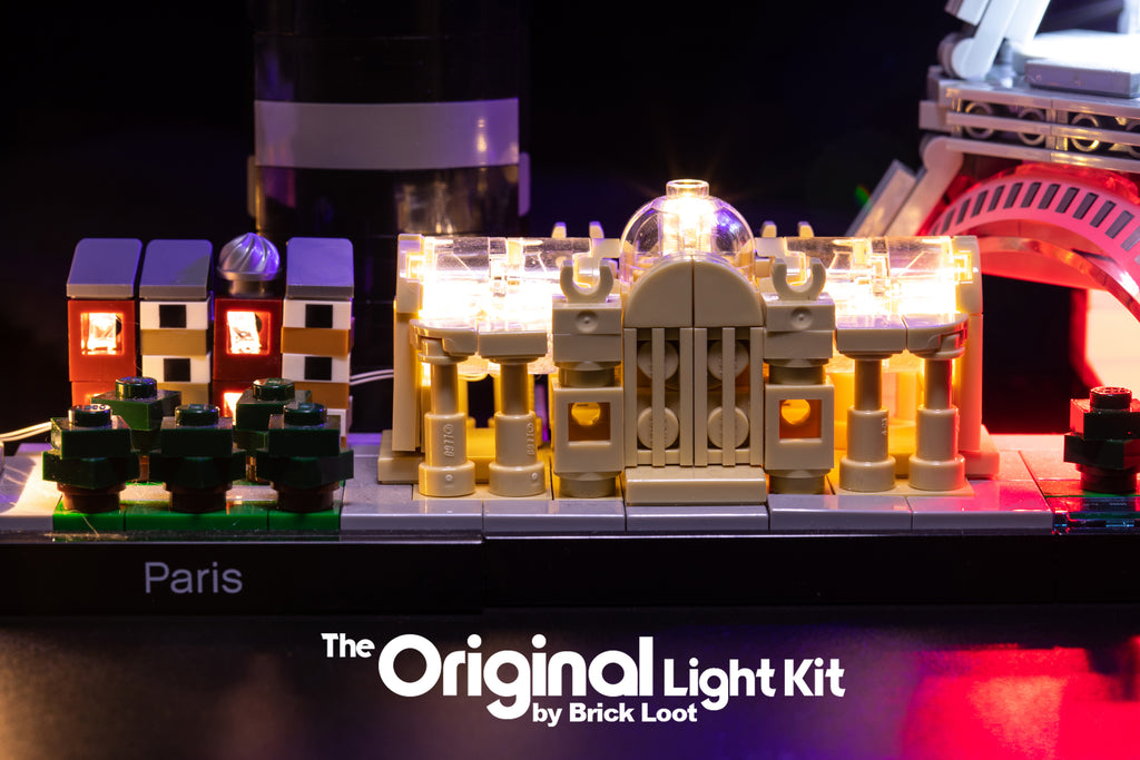 Close-up of the LEGO Architecture Paris Skyline set 21044 beautifully illuminated with the colorful custom Brick Loot LED Light Kit.