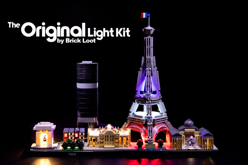 LEGO Architecture Paris Skyline set 21044 beautifully illuminated with the colorful custom Brick Loot LED Light Kit.