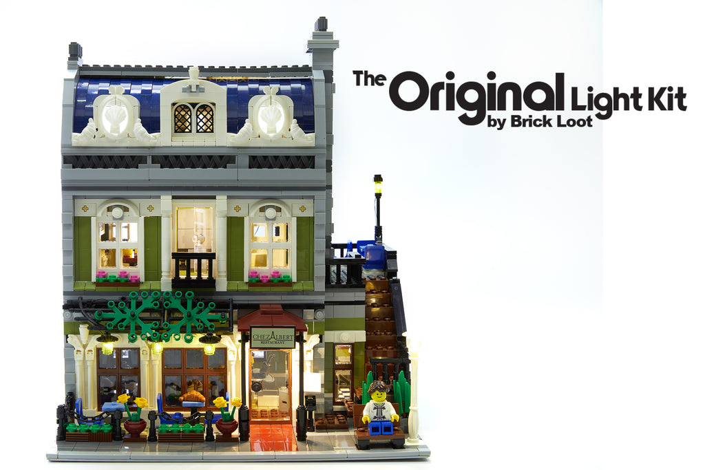 Brick Loot LED Lighting Kit for LEGO® Parisian Restaurant set 10243 - bright lights in the day and at night!