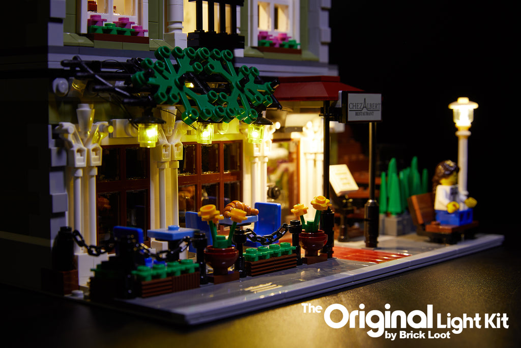 Close up of outdoor lighting from the Brick Loot LED Lighting Kit for LEGO® Parisian Restaurant set 10243.
