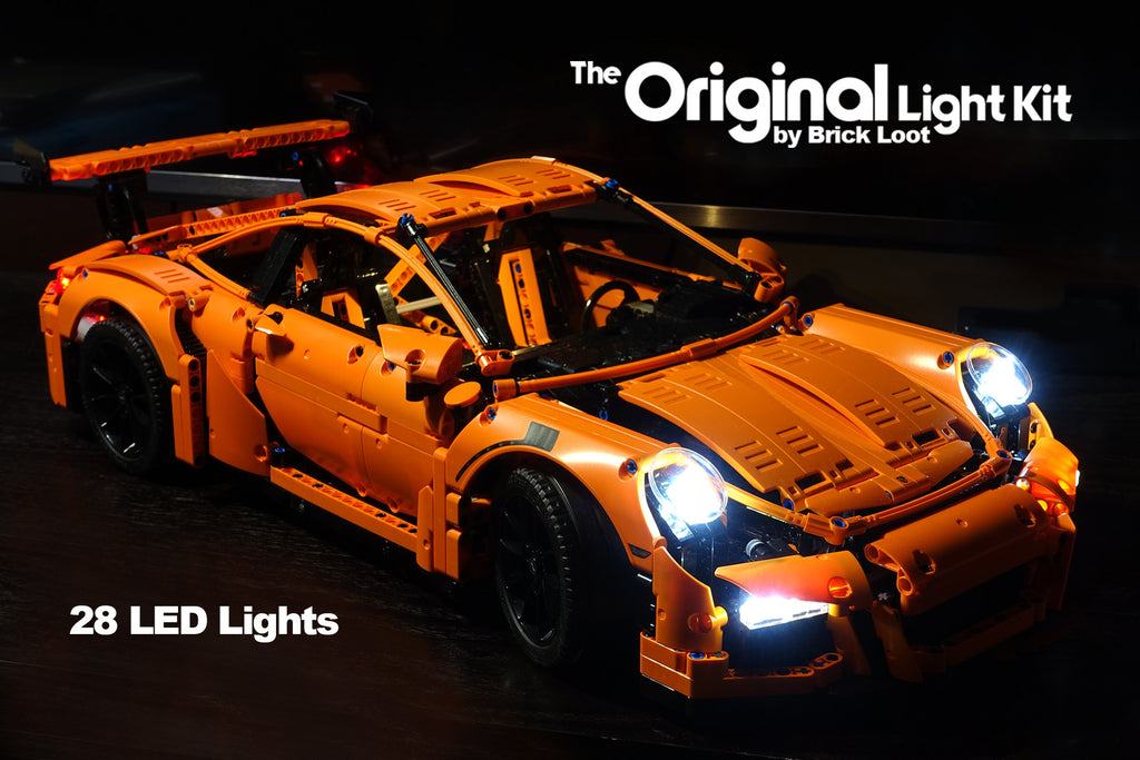 LEGO Porsche 911 GT3 RS set 42056, lit up with the Brick Loot LED Light Kit.