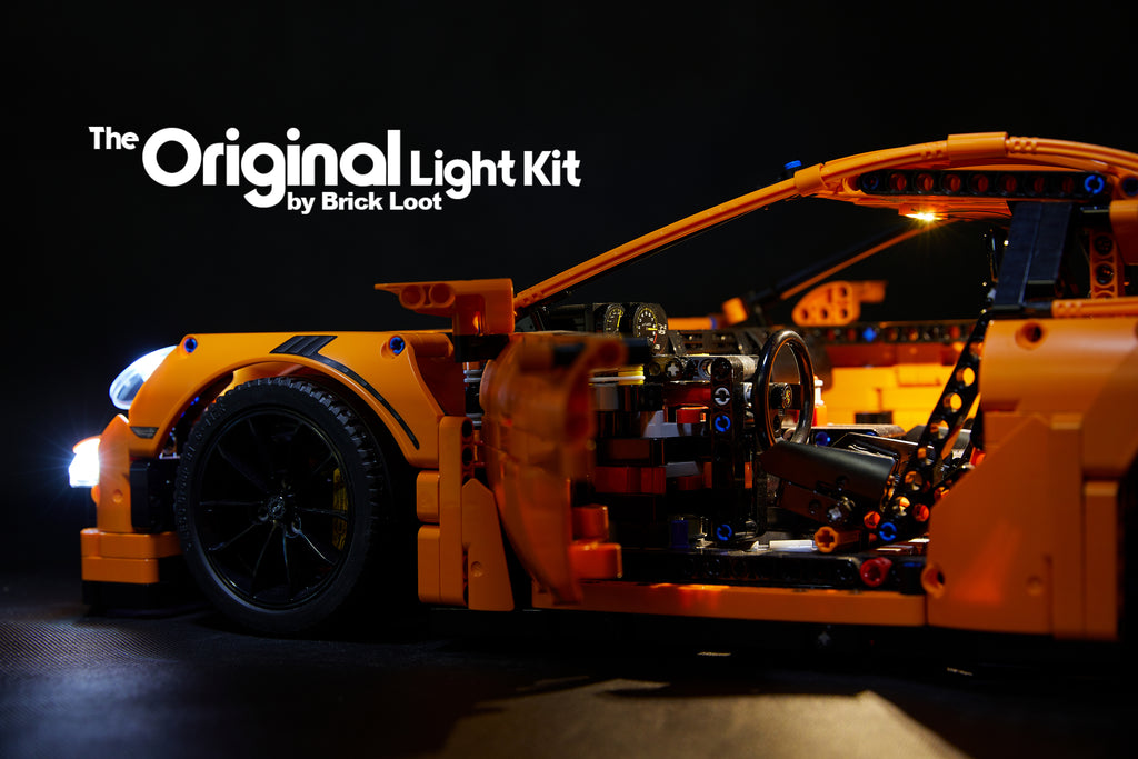 Side and interior of the LEGO Porsche 911 GT3 RS set 42056, lit up with the Brick Loot LED Light Kit.