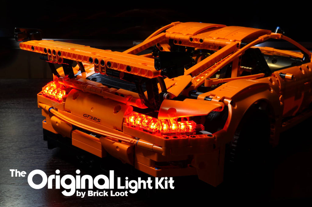 Rear view of the LEGO Porsche 911 GT3 RS set 42056, lit up with the Brick Loot LED Light Kit.