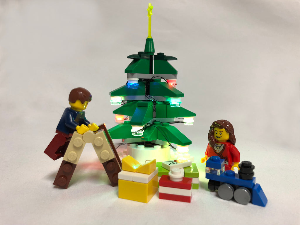 Brick Loot Flashing Light Up String 12 LED Red Green Blue LEGO Studs with USB, installed on a LEGO Christmas tree (LEGO set not included)