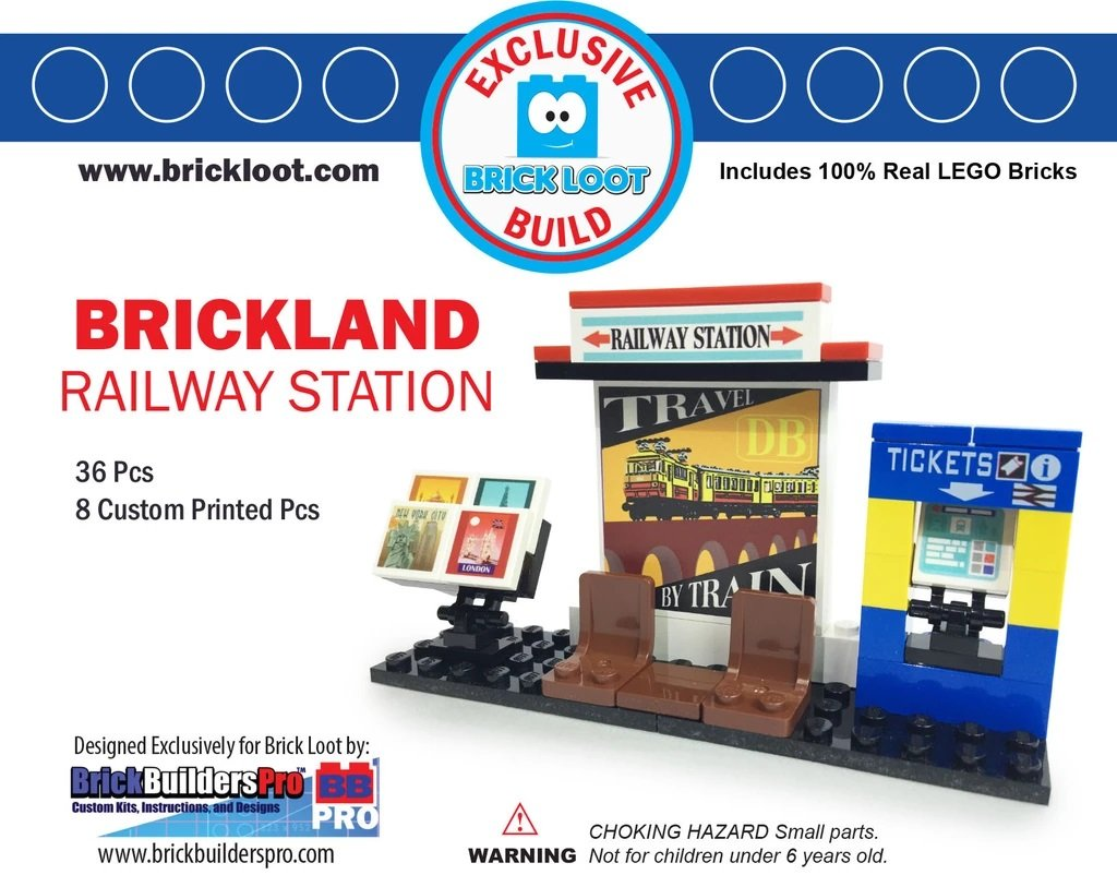 Exclusive-Brick-Loot-Build-Custom-LEGO-Set-100%-LEGO-Bricks-Railway-Train-Station