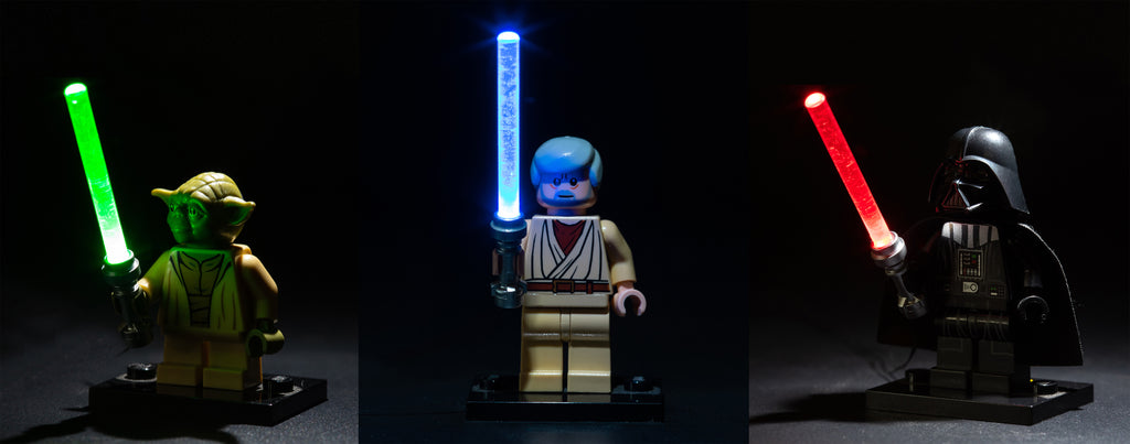 Brick Loot LED Green, Blue, Red Lightsabers - works with LEGO bricks and minifigures. Minifigures not included.