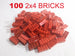Red LEGO Compatible 2x4 Bricks - 100 Pack  - designed and manufactured by Brick Loot