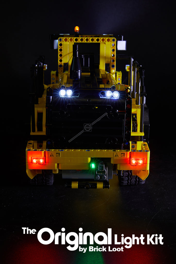 Back of the LEGO Technic Volvo L350F set 42030 with the Brick Loot Custom LED Light Kit installed.