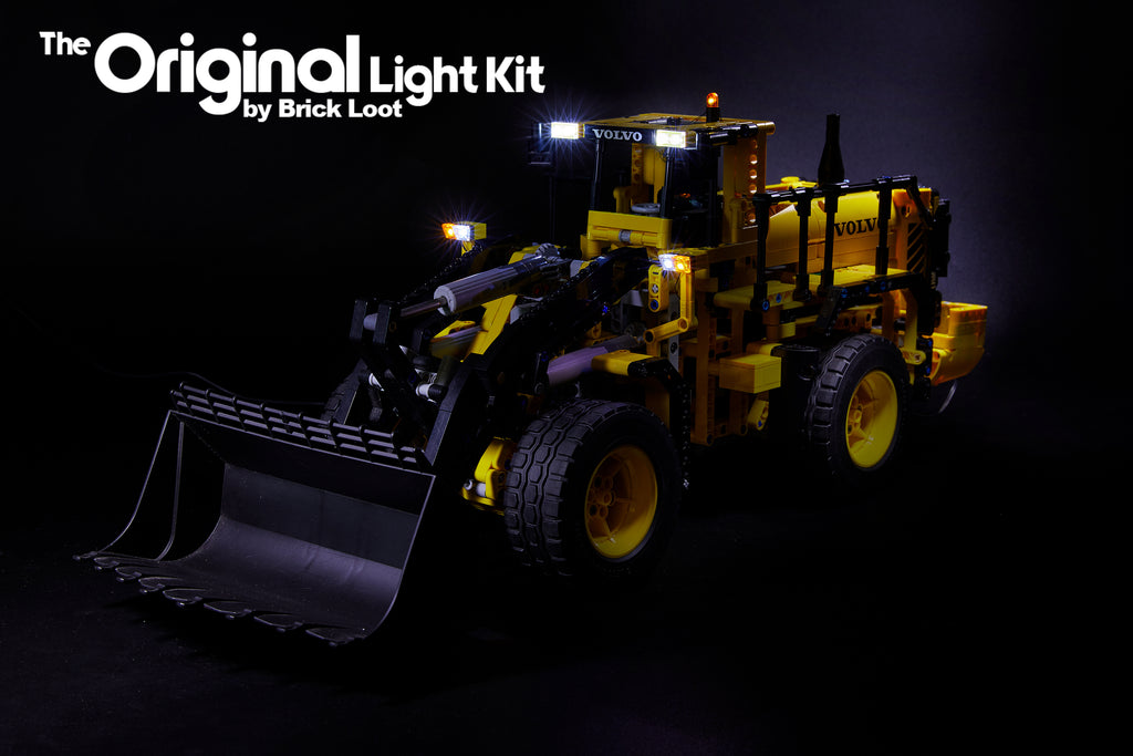 LEGO Technic Volvo L350F set 42030 with the Brick Loot Custom LED Light Kit installed.