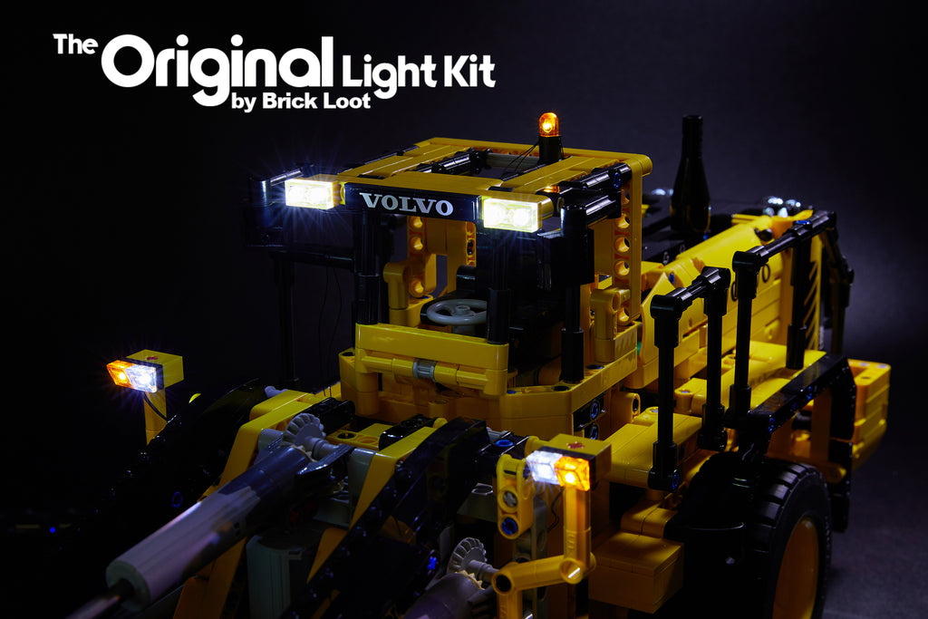 Close-up of the LEGO Technic Volvo L350F set 42030 with the Brick Loot Custom LED Light Kit installed.