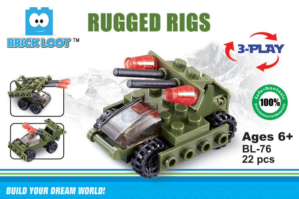 Brick-Loot-Exclusive-Rugged-Rigs-3-in-1-military-bot-set-100%-LEGO®-Compatible