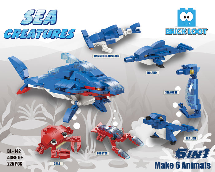 Sea Creatures 6 in 1 Brick Set - 225 Pieces