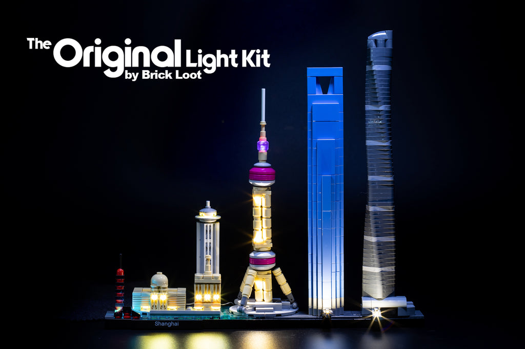 LEGO Architecture Shanghai set 21039 with the beautiful Brick Loot LED Light Kit installed.