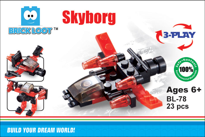 Brick-Loot-Exclusive-Skyborg-3-in-1-fighter-plane-bot-set-100%-LEGO®-Compatible
