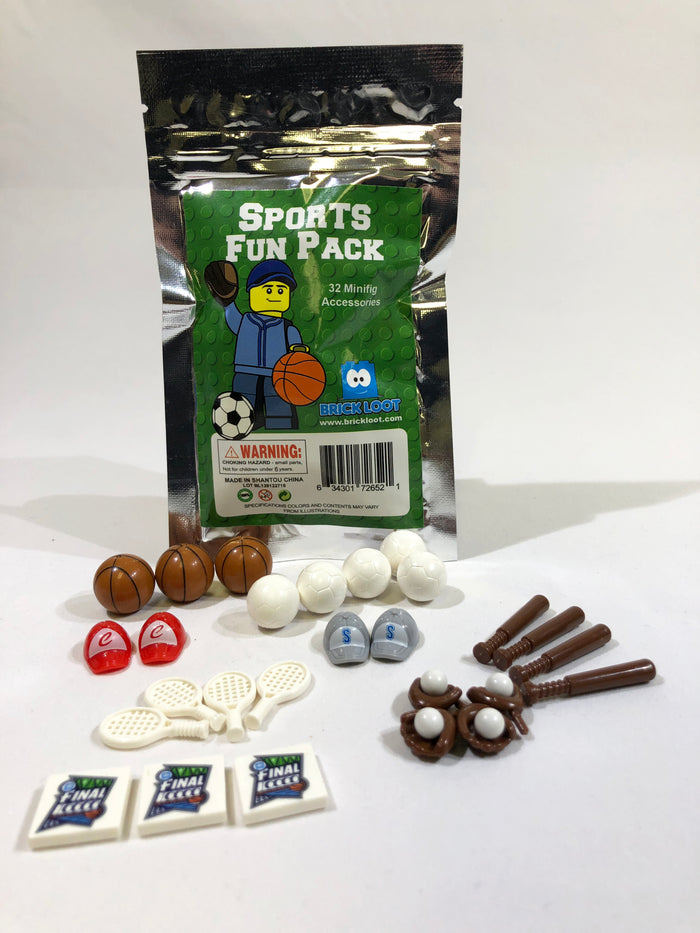 Brick Loot Sports Fun Pack - 32 Minifigure Accessories - Basketballs Soccer Balls Tennis Raquets Baseball Bats Baseball Mitts Baseballs Hats - compatible with LEGO and major brand bricks