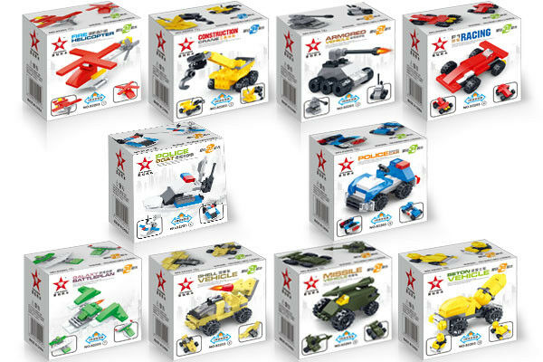 Brick Loot Mini 10 Pack of Mini Vehicle Builds each is 3 in 1