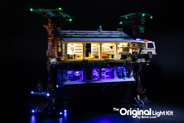 LEGO Stranger Things The Upside Down set 75810, illuminated with the Brick Loot LED Light Kit.
