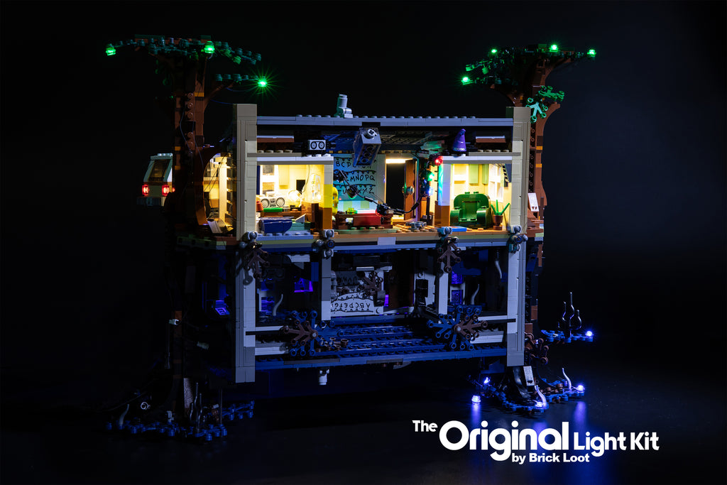 Inside of the LEGO Stranger Things The Upside Down set 75810, illuminated with the Brick Loot LED Light Kit.