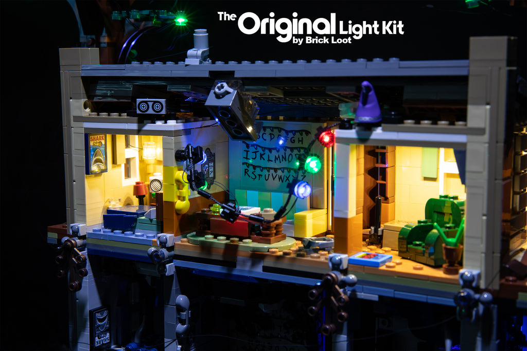 Close-up of the LEGO Stranger Things The Upside Down set 75810, illuminated with the Brick Loot LED Light Kit.