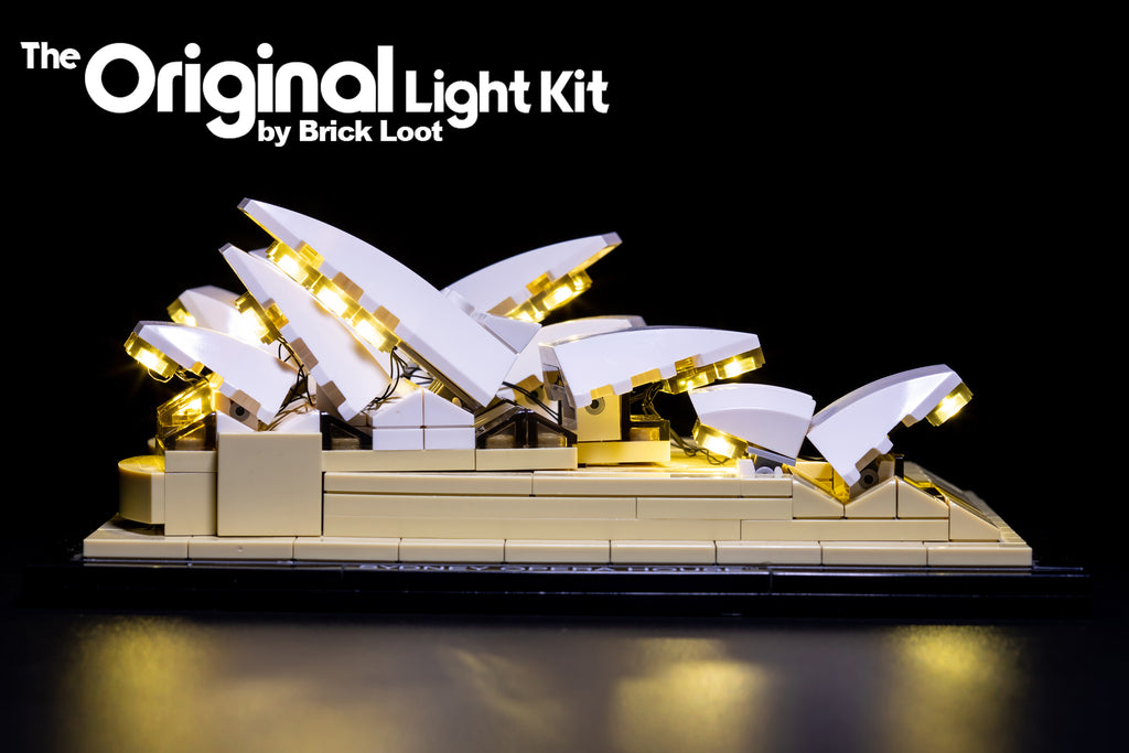 Side view of the LEGO Architecture Sydney Opera House set 21012, illuminated with the Brick Loot LED Light Kit.