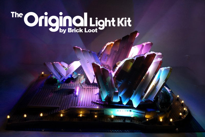 Brick Loot custom LED kit installed on the LEGO Sydney Opera House LEGO set 10234.