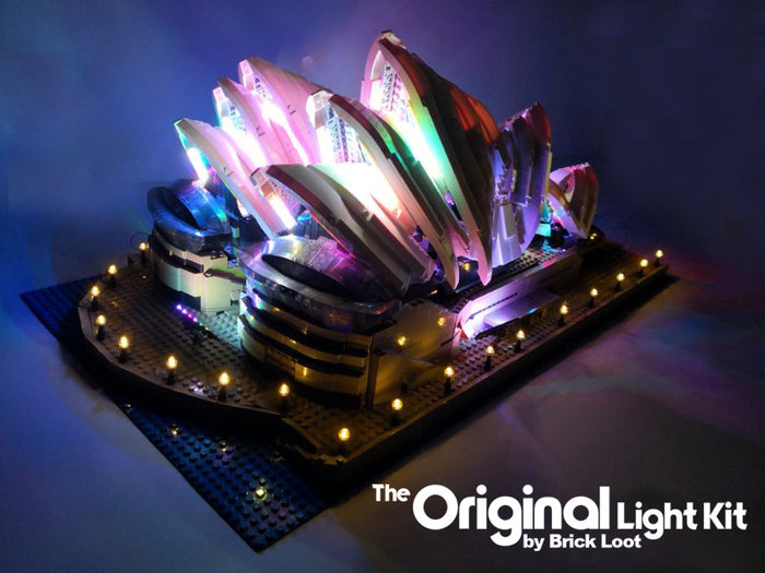 Brick Loot custom LED kit for the LEGO Sydney Opera House LEGO set 10234.