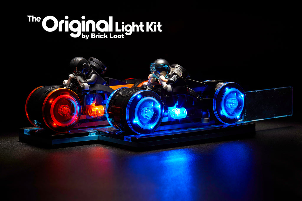 LEGO Tron Legacy set 21314 with the Brick Loot LED Light Kit installed with brilliant red and blue LED lights.