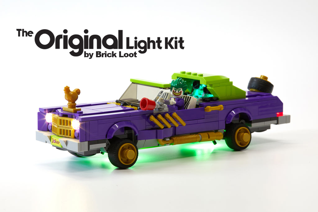 LEGO Batman Movie The Joker Notorious Lowrider set 70906 with the Brick Loot LED Light Kit installed.