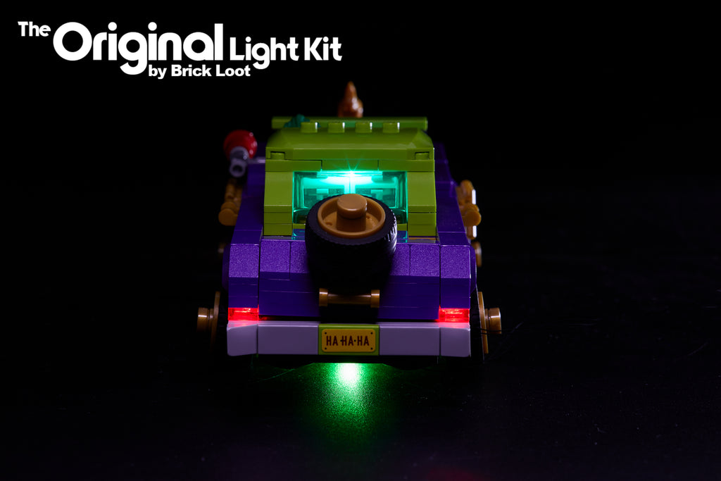 Back view of the LEGO Batman Movie The Joker Notorious Lowrider set 70906 with the Brick Loot LED Light Kit installed.