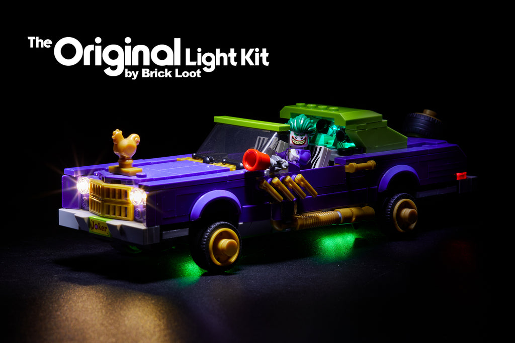 LEGO Batman Movie The Joker Notorious Lowrider car set 70906 with the Brick Loot LED Light Kit installed.