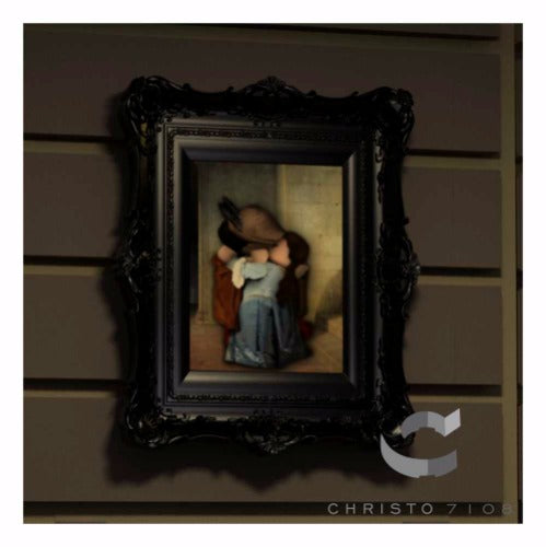 Christo Custom Fine Art Brick Painting  - The Kiss Painting - LIMITED EDITION