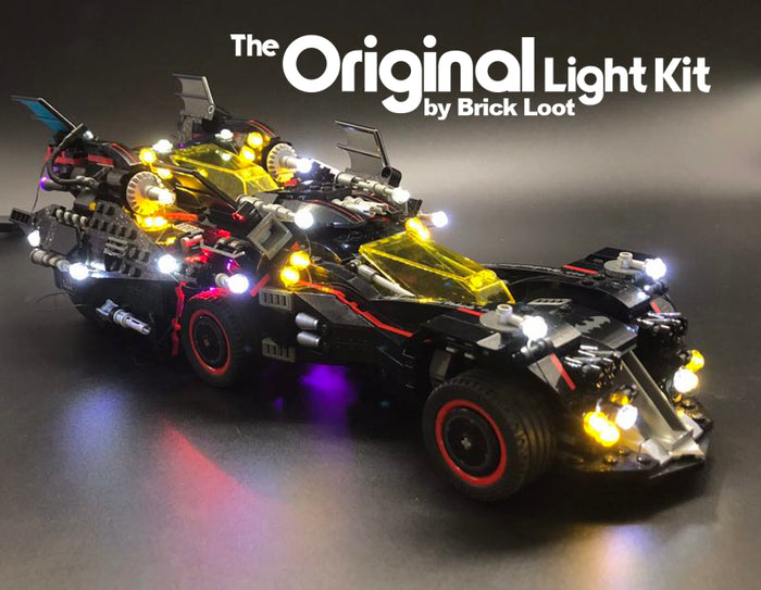 LEGO The Batman Movie - The Ultimate Batmobile with the Brick Loot LED Light Kit.