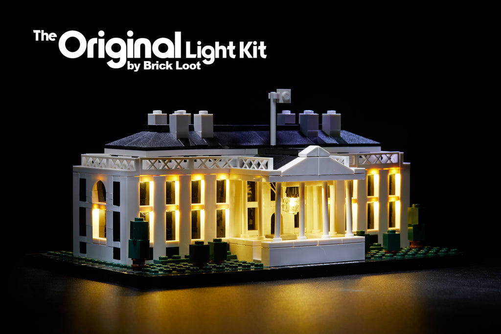 LEGO Architecture The White House set 21006, fully illuminated with the Brick Loot custom LED Light Kit.