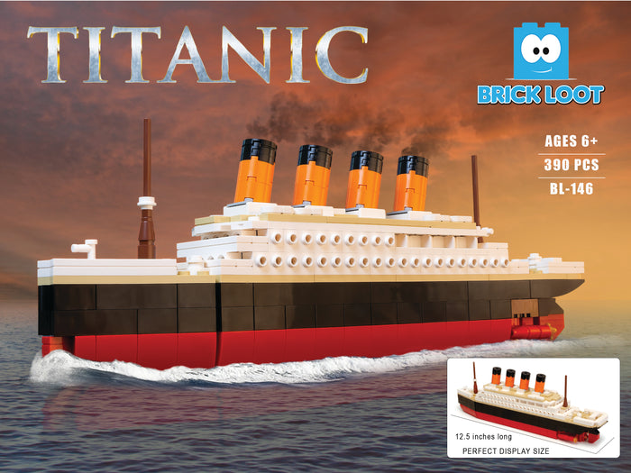 Brick Loot Large Titanic Ship Model made with 390 bricks featuring a moveable rudder - compatible with LEGO and major brand bricks
