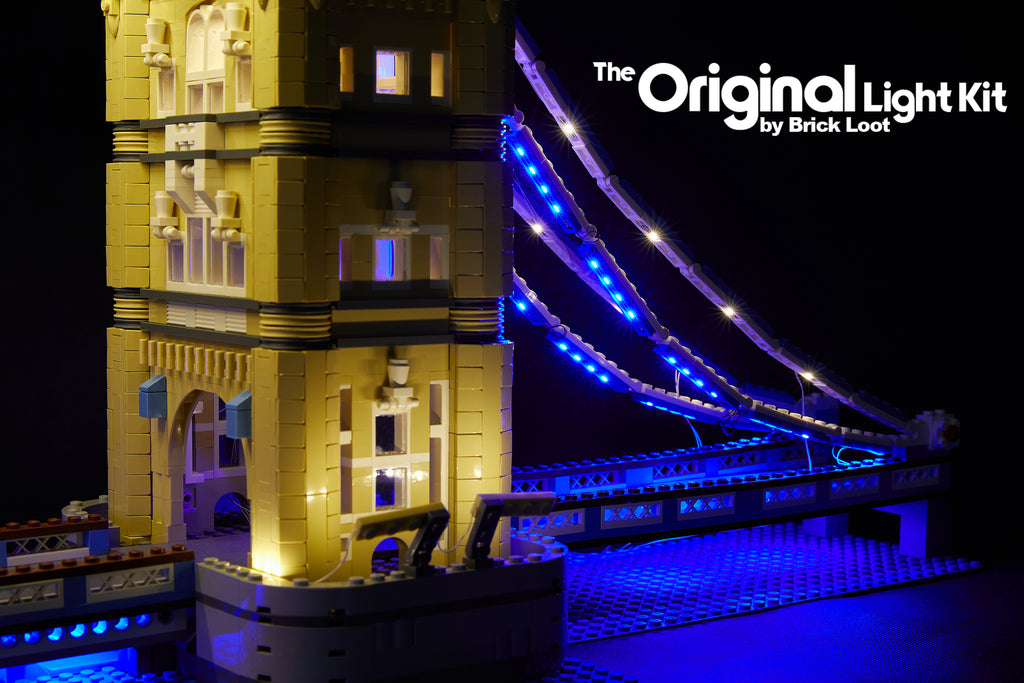Close up of the LEGO Tower Bridge set 10214, illuminiated with the Brick Loot LED Light kit with 292 LEDs!