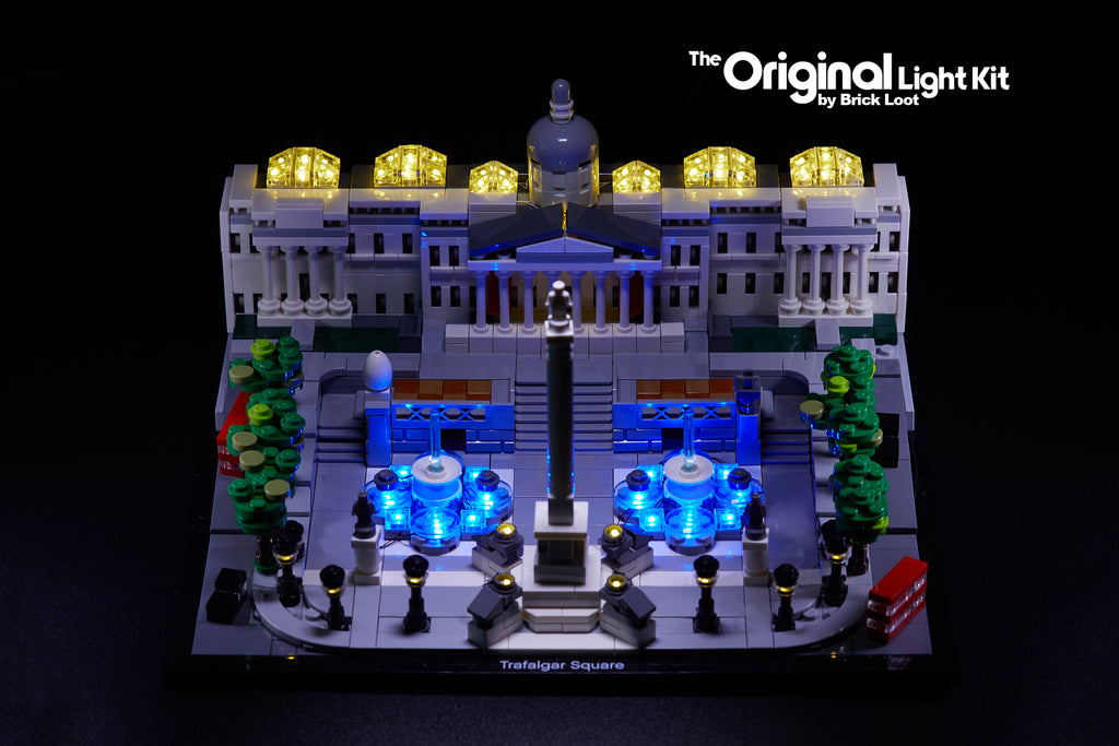 LEGO Architecture Trafalgar Square set 21045, beautifully illuminated with the Brick Loot LED Light Kit.