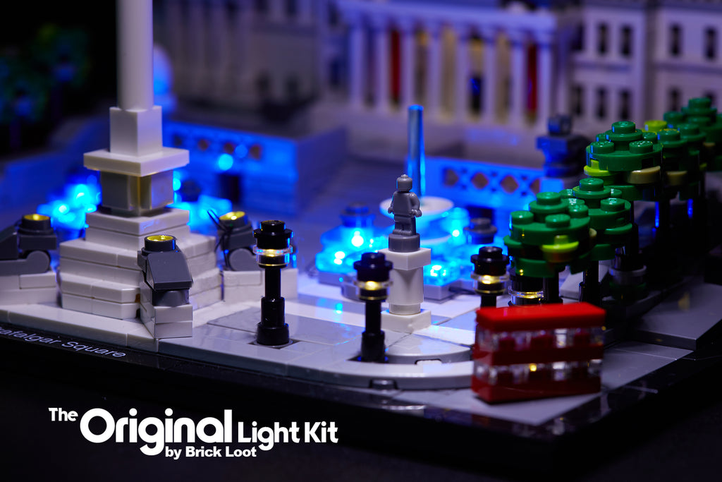 Close-up of the LEGO Architecture Trafalgar Square set 21045, beautifully illuminated with the Brick Loot LED Light Kit.