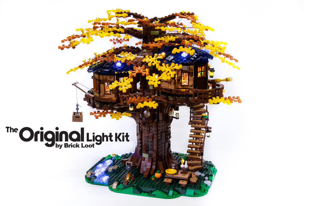 LEGO Ideas Tree House set 21318, fully illuminated with the Brick Loot LED Light Kit - brilliant lights in the day and at night!