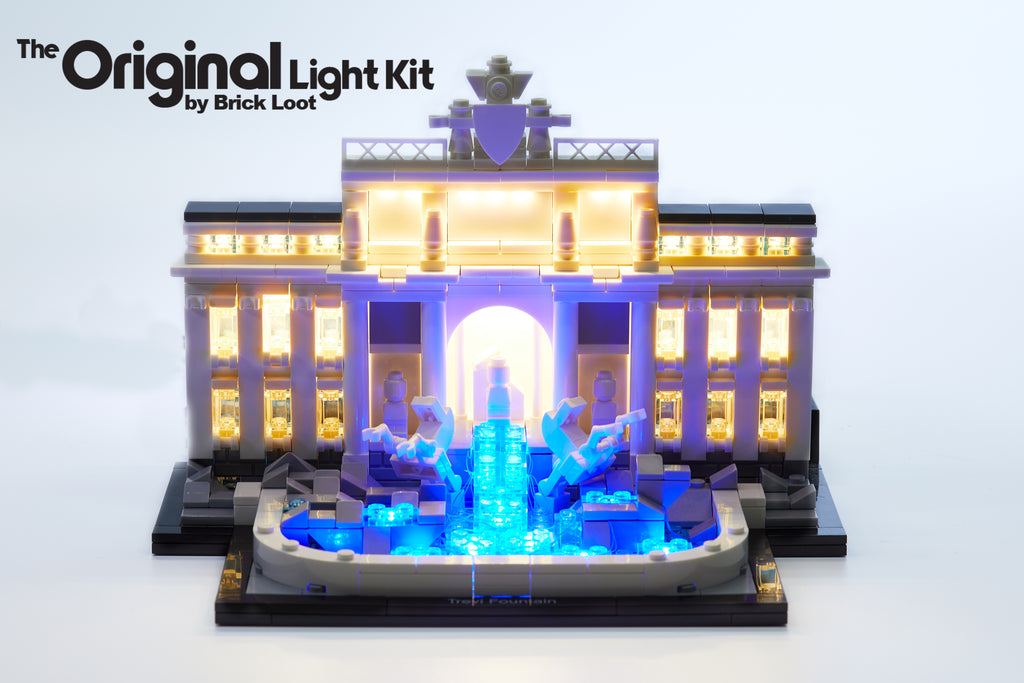 LEGO Architecture Trevi Fountain set 21020 with the Brick Loot LED kit installed - beautiful day and night.