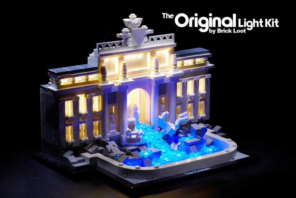 LEGO Architecture Trevi Fountain set 21020 with the Brick Loot LED kit installed.