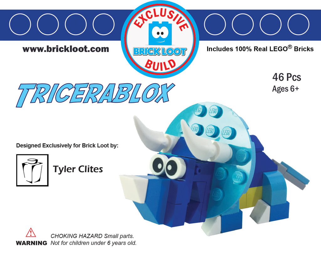 Exclusive-Brick-Loot-Build-Tricerablox-by-Tyler-Clites-100%-LEGO-Dinosaur