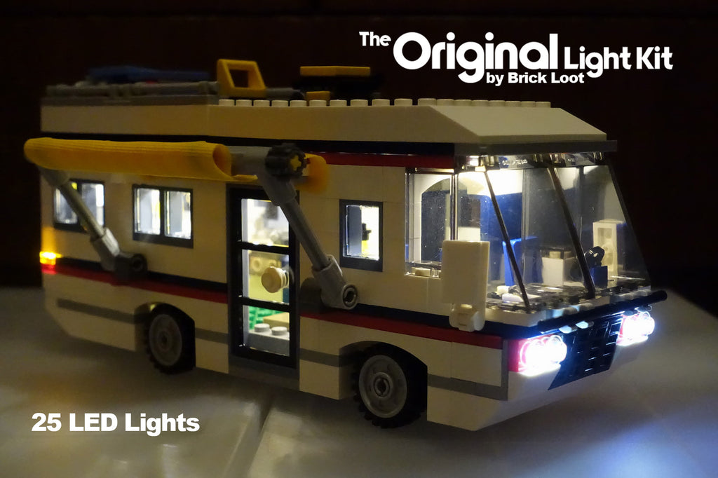 LEGO Creator Vacation Getaways Set 31052 RV Camper with the Brick Loot Original LED Light Kit installed.