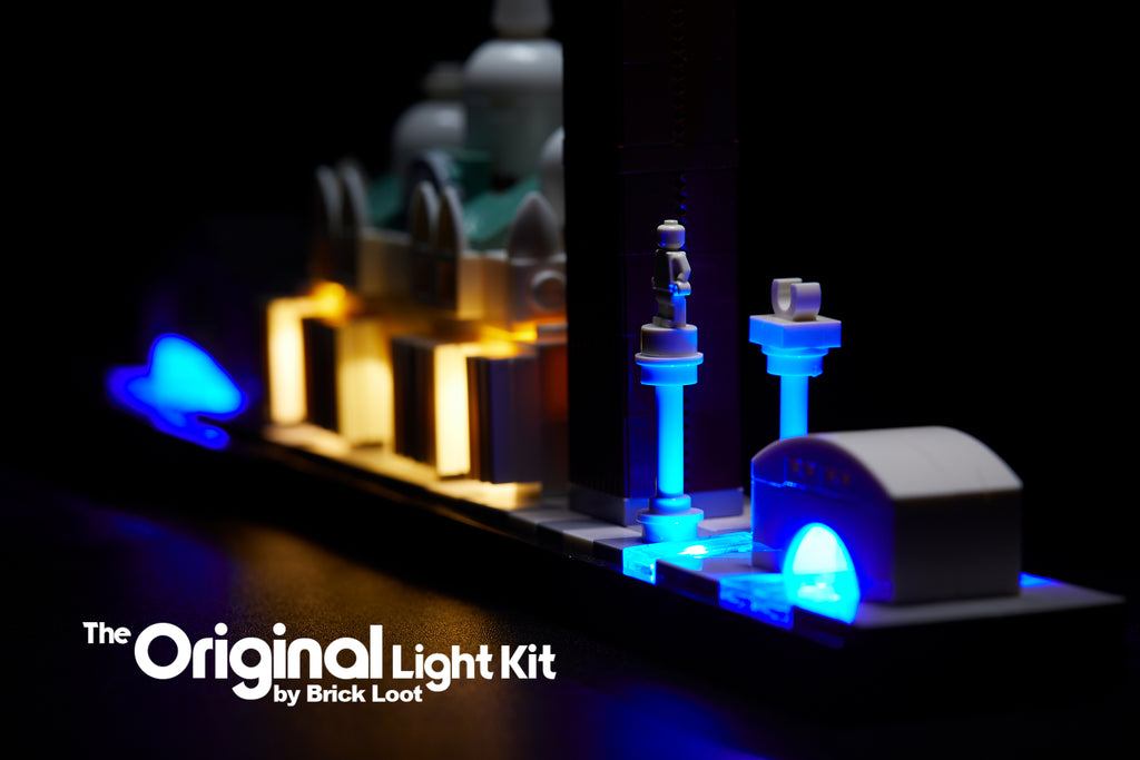 Close up of the LEGO Architecture Venice Skyline set 21026, illuminated with the Brick Loot LED Light Kit!