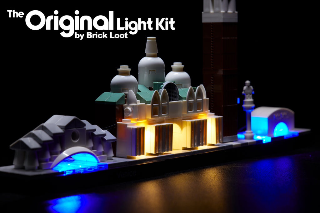 LEGO Architecture Venice Skyline set 21026, illuminated with the Brick Loot LED Light Kit!