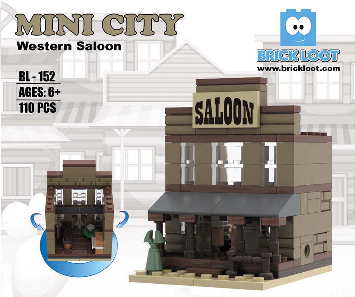 Brick Loot Mini City Western Saloon - Bricks are 100% compatible with LEGO and major brand bricks. Fun for your cowboy minifigs!
